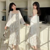 Women's large Summer 2020 White coat, skirt M (recommended 80-100 kg), l (recommended 100-120 kg), XL (recommended 120-140 kg), 2XL (recommended 140-160 kg), 3XL (recommended 160-180 kg), 4XL (recommended 180-200 kg) to ensure that the real object is consistent with the picture Dress Two piece set