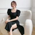 Dress Summer 2021 Black long, black short L (recommended 100-120 kg), XL (recommended 120-140 kg), 2XL (recommended 140-160 kg), 3XL (recommended 160-180 kg), to ensure that the real object is consistent with the picture longuette singleton  Short sleeve commute square neck High waist Solid color