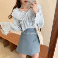 Women's large Spring 2021, autumn 2021 Blue top, white top, blue skirt, black skirt S. M, l (recommended 100-120 kg), XL (recommended 120-140 kg), 2XL (140-160 kg recommended), 3XL (160-180 kg recommended), 4XL (180-200 kg recommended), to ensure that the real object is consistent with the picture