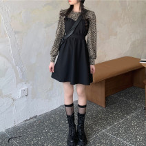 Women's large Autumn 2020 black M (recommended 80-100 kg), l (recommended 100-120 kg), XL (recommended 120-140 kg), 2XL (recommended 140-160 kg), 3XL (recommended 160-180 kg), 4XL (recommended 180-200 kg) to ensure that the real object is consistent with the picture Dress Fake two pieces commute