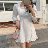 Dress Summer 2021 white S. M, l, XL, 2XL, 3XL, 4XL, ensure the consistency between the real object and the picture Short skirt singleton  three quarter sleeve commute square neck High waist Solid color A-line skirt puff sleeve Type A Other / other Korean version 31% (inclusive) - 50% (inclusive)
