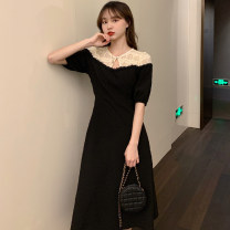 Women's large Summer 2021 black M (recommended 80-100 kg), l (recommended 100-120 kg), XL (recommended 120-140 kg), 2XL (recommended 140-160 kg), 3XL (recommended 160-180 kg), 4XL (recommended 180-200 kg) to ensure that the real object is consistent with the picture Dress singleton  commute moderate