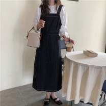 Women's large Autumn 2020 Round neck white top, black bandage dress Dress Two piece set commute easy moderate Socket Long sleeves Solid color Korean version Crew neck polyester Three dimensional cutting routine Other / other Bandage 31% (inclusive) - 50% (inclusive) longuette straps