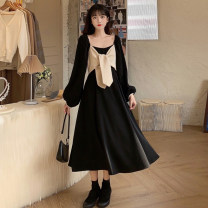 Women's large Autumn 2020, spring 2021 black S. M, l (recommended 100-120 kg), XL (recommended 120-140 kg), 2XL (140-160 kg recommended), 3XL (160-180 kg recommended), 4XL (180-200 kg recommended), to ensure that the real object is consistent with the picture Dress singleton  commute easy moderate