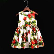 Parent child fashion Strawberry crew neck vest skirt with white background Women's dress female Childhooddays / Xiong Yinuo 73, 80cm, 90cm, 100cm, 110cm, 120cm, 130cm, 140cm, 150cm, 155cm, 160cm, mom s, mom m, mom L, mom XL, mom XXL, mom XXXL, mom XXXXL CM01 summer Europe and America Thin money skirt