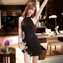 Dress Spring of 2019 Picture color S,M,L Short skirt singleton  Sleeveless commute Crew neck High waist Solid color zipper One pace skirt routine Hanging neck style 18-24 years old Type H Other / other Korean version Ruffle, cut out, zipper T53640# More than 95% brocade polyester fiber