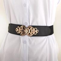 Belt / belt / chain other Black, red, camel, white, beige female belt Versatile Single loop Youth, youth, middle age a hook Flower design soft surface 4cm alloy Naked, inlaid, elastic, flower 66cm