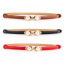 Belt / belt / chain Pu (artificial leather) female belt Versatile Single loop Youth, youth, middle age a hook other Glossy surface 1cm alloy Naked, inlaid 90cm