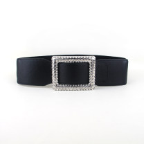 Belt / belt / chain Pu (artificial leather) Black, white female Waistband Versatile Single loop Youth, youth, middle age Smooth button Diamond inlay soft surface alloy Bare, inlaid, Rhinestone, elastic