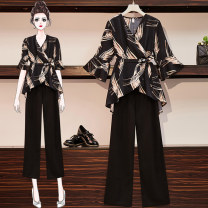 Middle aged and old women's wear Summer 2020 9354 black suit L (90-105 kg recommended), XL (105-120 kg recommended), 2XL (120-135 kg recommended), 3XL (135-150 kg recommended), 4XL (150-165 kg recommended) fashion suit Self cultivation Two piece set Decor Cardigan thin V-neck routine pagoda sleeve