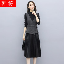 Dress Spring 2021 Gray purple M L XL 2XL longuette Two piece set Long sleeves commute Crew neck middle-waisted Solid color Socket Pleated skirt routine 30-34 years old Type A Han Fu Korean version belt HF21A9008-yksl More than 95% other Other 100% Pure e-commerce (online only)