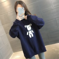 Sweater / sweater Summer 2021 Purple White Peacock Blue Navy S M L XL Long sleeves routine Socket singleton  routine Hood easy commute routine Cartoon animation 18-24 years old 96% and above Pink Avril Korean version other printing Other 100% Pure e-commerce (online only)