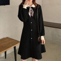 Women's large Winter 2020 S M L XL singleton  commute Long sleeves Solid color Korean version puff sleeve Ou Yulin 18-24 years old 71% (inclusive) - 80% (inclusive) Middle-skirt Polyester 80% other 20% Pure e-commerce (online only)