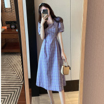 Women's large Summer 2020 L XL S M singleton  commute Short sleeve lattice Korean version square neck polyester fiber puff sleeve Ou Yulin 18-24 years old 96% and above longuette Polyester 100% Pure e-commerce (online only)