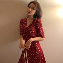 Dress Summer 2020 Red polka dot skirt S M L XL Short skirt singleton  elbow sleeve commute V-neck High waist Dot Socket A-line skirt routine Others 18-24 years old Type A Ou Yulin Korean version printing B41323 More than 95% other Other 100% Pure e-commerce (online only)