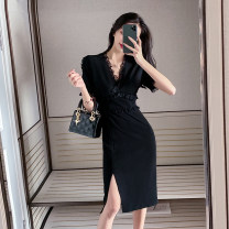 Women's large Summer 2020 black L XL S M singleton  commute Self cultivation Socket Short sleeve Solid color Korean version V-neck Medium length routine Ou Yulin 18-24 years old Other 100% Pure e-commerce (online only)