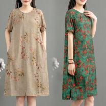 Dress Summer 2020 1006 green flower, 1006 grey flower XL,L,M hemp