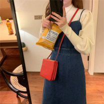 Dress Spring 2021 Dark blue S M L longuette singleton  Sleeveless commute High waist Solid color Socket A-line skirt routine camisole 25-29 years old Type A Myrtle micrantha Korean version Bow tie strap with zipper More than 95% other Other 100% Pure e-commerce (online only)