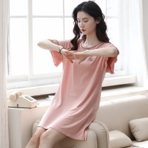 Nightdress Mcsalee / masanee Fdm2007 powder L XL XXL 160 Simplicity Short sleeve Leisure home Middle-skirt summer Solid color youth Crew neck cotton printing 81% (inclusive) - 95% (inclusive) Modal fabric FDM2007 200g and below Summer 2020 Pure e-commerce (online only) Cotton 41.00% others 59.00%