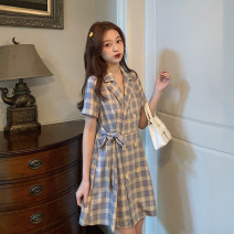 Dress Summer 2020 lattice S M L XL Mid length dress singleton  Short sleeve commute tailored collar High waist lattice double-breasted A-line skirt routine Others 18-24 years old Zi Nu Ge Korean version 71% (inclusive) - 80% (inclusive) other polyester fiber Polyester 80% other 20%