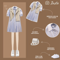 Women's large Summer 2021 Blue white Dress Two piece set commute easy thin Socket Short sleeve Solid color Korean version Polo collar routine Three dimensional cutting routine JMJFL915# Jiumei 25-29 years old Button Medium length Other 100% Pure e-commerce (online only) Pleated skirt