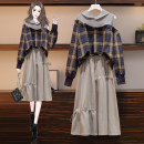Women's large Spring 2021 Top skirt suit skirt Two piece set commute easy moderate Socket Long sleeves lattice Korean version Hood Medium length Three dimensional cutting shirt sleeve JMJFL810#` Jiumei 25-29 years old hole Medium length Other 100% Pure e-commerce (online only) Princess Dress