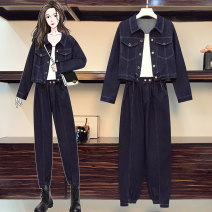 Women's large Spring 2021 suit L XL 2XL 3XL 4XL 5XL Other oversize styles Two piece set commute easy moderate Cardigan Long sleeves Solid color Korean version Polo collar routine Three dimensional cutting routine JMJFL820* Jiumei 25-29 years old pocket Other 100% Pure e-commerce (online only)