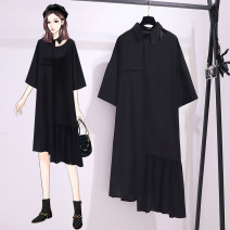 Women's large Summer 2021 black Dress singleton  commute easy thin Socket Short sleeve Solid color Korean version Polo collar Medium length Three dimensional cutting routine JMXJM1879#` Jiumei 25-29 years old wave Medium length Other 100% Pure e-commerce (online only) Ruffle Skirt