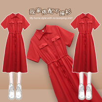 Women's large Summer 2021 gules Dress singleton  commute easy thin Socket Short sleeve Solid color Korean version Polo collar Medium length Three dimensional cutting routine JMJFL2001#` Jiumei 25-29 years old Button Medium length Other 100% Pure e-commerce (online only) other