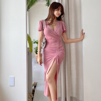 Dress Summer 2020 Pink (pre-sale 10 days delivery) gray blue (pre-sale 10 days delivery) S M L longuette singleton  Short sleeve commute V-neck High waist Solid color Socket One pace skirt Lotus leaf sleeve 25-29 years old Type H Sisha Erya fold More than 95% cotton Cotton 96% other 4%