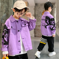 Plain coat Beibei orange male 120cm 130cm 140cm 150cm 160cm 170cm Violet black spring and autumn Korean version Single breasted There are models in the real shooting routine nothing other Cotton elastic denim Crew neck Other 100% Class C Spring 2021