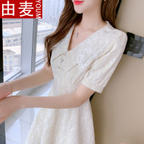 T-shirt Yellow blue S M L XL Summer 2021 Short sleeve Doll Collar Self cultivation Medium length puff sleeve Sweet other 96% and above 25-29 years old youth Solid color You mai 8007# Other 100% solar system