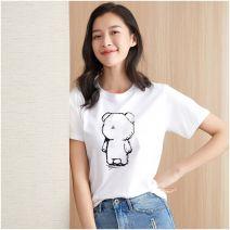 T-shirt S M L XL XXL XXXL XXXXL Summer 2020 Short sleeve Regular cotton 96% and above She Huashu Cotton 100%