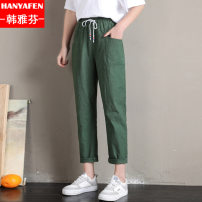 Casual pants 8228 army green 8228 black 8228 apricot 9937 light green 9937 rust red 9937 blue 9937 black S M L XL XXL XXXL Summer of 2018 trousers Haren pants Natural waist Thin money HYFI476 Han Yafen Cotton blended fabric Cotton 65% polyester 35% Pure e-commerce (online only)