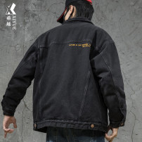 Jacket Xiyue Youth fashion M L XL 2XL 3XL 4XL 5XL Plush and thicken easy Home winter Long sleeves Wear out Lapel Youthful vigor teenagers routine Single breasted Straight hem washing Closing sleeve Solid color Denim Winter 2020 Cloth decoration (covering other fabrics) Side seam pocket cotton