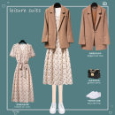 Dress Summer 2021 Suit + skirt brown suit apricot skirt S M L XL 2XL 3XL 4XL longuette Two piece set Short sleeve commute V-neck High waist Broken flowers Socket A-line skirt routine Others 25-29 years old Type A Lungge lady printing 2021-330-5 More than 95% Chiffon polyester fiber Polyester 100%