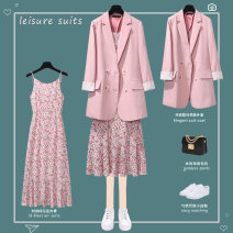 Fashion suit Spring 2021 S M L XL 2XL 3XL 4XL Suit + dress pink suit pink dress apricot suit + dress apricot suit apricot Dress Purple suit + Dress Purple suit purple dress black suit + dress black suit Floral Dress 25-35 years old Lungge SY6065-YS3318-1 Polyester 100% Pure e-commerce (online only)