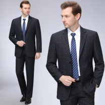 man 's suit Oana  Youth fashion thick 46/165,48/170,50/175,52/180,54/185,56/190 Extra wide A double breasted button Other leisure Double slit middle age Long sleeves spring routine Mingji thread patch bag