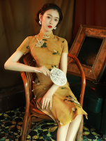 cheongsam Summer 2021 S M L XL XXL XXXL yellow Short sleeve long cheongsam Retro High slit daily Oblique lapel Decor Piping LGY-8082 LAN Guiyu other Other 100% Pure e-commerce (online only) 96% and above