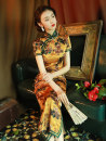 cheongsam Summer 2021 S M L XL XXL XXXL XXXXL Yellow red Short sleeve long cheongsam Retro High slit daily Oblique lapel Decor Piping LGY-8233 LAN Guiyu other Other 100% Pure e-commerce (online only) 96% and above