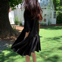 Dress Spring 2021 black S M L XL Mid length dress elbow sleeve commute Crew neck Solid color 18-24 years old Yizexiang Korean version Little black dress 225 More than 95% cotton Cotton 100% Pure e-commerce (online only)