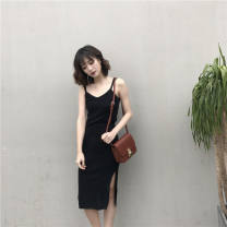 Dress Autumn of 2019 black XXS,XS,S,M,L Miniskirt singleton  Sleeveless commute V-neck Elastic waist other camisole 18-24 years old Other / other