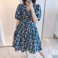 Dress Spring 2021 blue S M L XL 2XL 3XL Mid length dress singleton  Short sleeve commute V-neck High waist Broken flowers Socket A-line skirt routine Others 25-29 years old Type A Snow Charm Retro printing BXMB3636B More than 95% other Other 100% Pure e-commerce (online only)