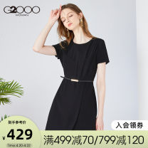 Dress Spring 2020 Black / 99 150/72A/XXS 155/76A/XS 160/80A/S 165/84A/M 170/88A/L 175/92A/XL 180/96A/XXL Mid length dress Short sleeve commute Solid color Socket 25-29 years old G2000 Simplicity More than 95% polyester fiber Polyester 100%