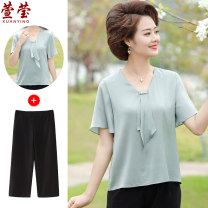 Middle aged and old women's wear Summer 2021 fashion suit easy Two piece set Solid color 40-49 years old Socket thin Crew neck have cash less than that is registered in the accounts routine Xuan Ying Bandage other Other 100% 96% and above Pure e-commerce (online only) Cropped Trousers