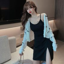 Fashion suit Autumn 2020 S m average White cardigan black suspender skirt 18-25 years old Baryas GBL11_ one trillion and six hundred and fifteen billion nine hundred and ninety-one million three hundred and eight thousand and two Triacetate fiber (triacetate fiber) 100%