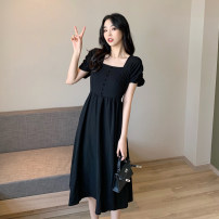 Dress Summer 2021 black Average size Miniskirt singleton  Short sleeve commute square neck High waist Solid color Socket A-line skirt routine Type A Korean version 30% and below other other