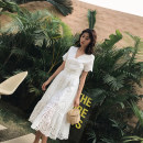 Dress Summer 2020 White [short sleeve] white [long sleeve] S M L XL XXL longuette singleton  Short sleeve Sweet V-neck High waist Solid color Socket A-line skirt routine Others 25-29 years old Type A Yinzeun / contrast Hollow stitching More than 95% Lace other Viscose (viscose) 100% Bohemia