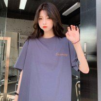 Women's large Summer 2021 M L XL T-shirt singleton  commute easy moderate Socket Short sleeve letter Korean version Crew neck Medium length cotton routine Xianwan Poetry 18-24 years old 96% and above Short skirt Cotton 100% Pure e-commerce (online only)