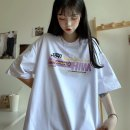 Women's large Summer 2020 Purple white black M L XL T-shirt singleton  commute easy moderate Socket Short sleeve Shape letter Korean version Crew neck Medium length Polyester cotton printing and dyeing routine Chaohuigou-936# Xianwan Poetry 18-24 years old 51% (inclusive) - 70% (inclusive)